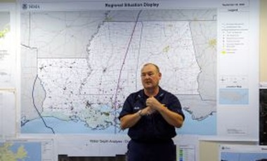 Baton Rouge, La., October 4, 2005: USCG Vice Admiral Thad Allen, FEMA Principle Federal Official for the Gulf Coast, gave a situation report to members of Congress at the Joint Field Office.