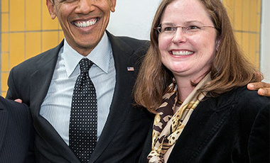 At the Summit: President Barack Obama with then U.S. Nuclear Security Summit planning team member Laura Holgate at The Hague, March 2014.