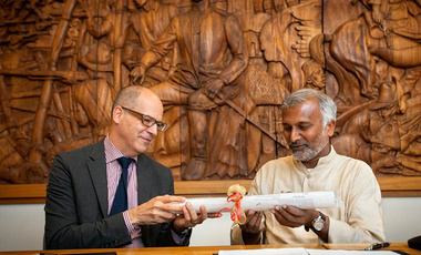 Global Learning: Fredrik Logevall (left), then Cornell University vice provost, with Pratim Roy, director of India's Keystone Center, after signing an agreement to establish a shared research center in Tamil Nadu.