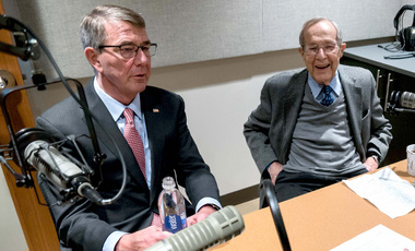 "Former Defense Secretaries Ash Carter and William Perry recording for the podcast ""At the Brink"" at Harvard Kennedy School."