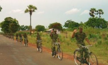 LTTE bike platoon north of Kilinochi, Sri Lanka, 2004. The LTTE closely monitored their troops and brutally punished the few soldiers who raped.