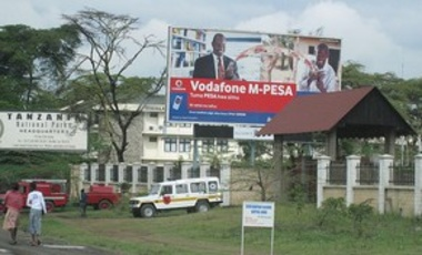 Nov. 29, 2008: Ad for M-Pesa, a cellphone money-transfer system that came to Tanzania from Kenya, where it had begun. Once created, the Kenyan government used it to provide more services.