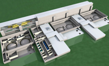 "Simplified small and medium reactors could make nuclear energy available to countries with smaller electrical grids and less infrastructure. An artist's concept envisions six units of the 125 MWe ""mPower"" design from B&W into a 750 MWe power plant."