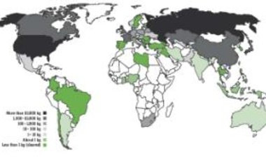 Distribution of civilian HEU worldwide as of 2011. From the 2011 Global Fissile Material Report.