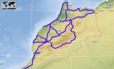 Map showing the terrestrial fiber optic cable line for Maroc Telecom (Morocco), 22 April 2013.