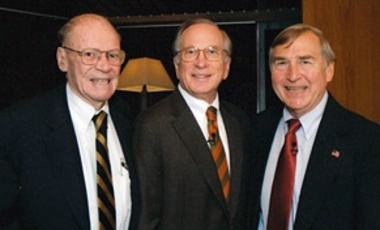 Robert McNamara (left), Sam Nunn (center) and Graham Allison before Nunn's delivery of the first Robert S. McNamara Lecture on War and Peace at the John F. Kennedy Jr. Forum. (October 2008)