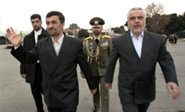 In this Thursday, Dec. 17, 2009 file photo, Iranian Vice-President Mohammad Reza Rahimi, right, accompanies President Mahmoud Ahmadinejad in his departure ceremony as he leaves Tehran's Mehrabad airport for Copenhagen to attend the U.N. Climate Summit. Ir