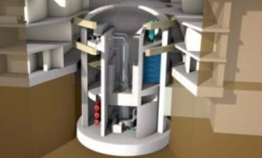 Conceptual drawing of a single B&W mPower™ nuclear reactor module inside its own independent, underground containment.