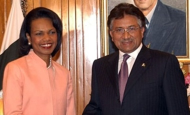 U.S. Secretary of State Condoleezza Rice and Pakistani President Pervez Musharraf on June 27, 2006, during a visit to discuss counterterrorism cooperation.