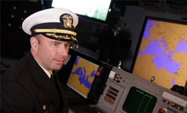 U.S. Navy Captain James W. Kilby in the control room of the Guided Missile Carrier USS Monterey, docked in Antwerp, Belgium, on Mar. 31, 2011. It is the first ship to become a part of the European Phased Adaptive Approach of the missile defense mission.