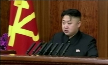 Jan. 1, 2013: In an image made from video, North Korean leader Kim Jong-eun makes his first New Year's speech in Pyongyang, North Korea.