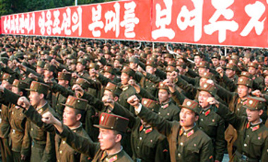 North Korean soldiers chant anti-U.S. slogans during a rally in Pyongyang, North Korea. Tens of thousands of North Koreans rallied in their capital to condemn the United States and South Korea on the 60th anniversary of the start of the Korean War.