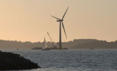 The world's first full-scale floating wind turbine, assembled in the Åmøy Fjord near Stavanger, Norway. Norway made the most ambitious pledge for voluntary carbon cuts through 2020.