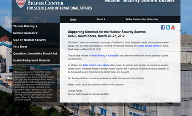 Center Prepares Dossier for Seoul Nuclear Summit