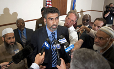 Mongi Dhaouadi, center, Conn. chapter of the Council of American-Islamic Relations Executive Director, before an interfaith meeting in Bridgeport, Conn. May 5, 2010. Dhaouadi says none of the imams in the area can remember seeing Faisal Shahzad.