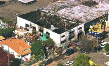 This Dec. 3, 2016 image from video provided by KGO-TV shows the Ghost Ship Warehouse after a fire that started late Dec. 2 swept through the Oakland, Calif., building.