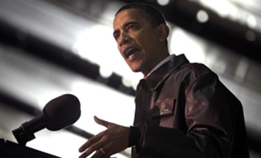 President Barack Obama rallies troops at Bagram Air Base in Afghanistan, March 28, 2010.
