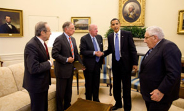 President Obama meets with former Defense Secretary William Perry; former Sen. Sam Nunn; former Secretary of State George P. Shultz; and former Secretary of State Henry Kissinger in the Oval Office.