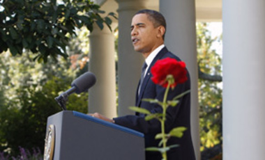 President Barack Obama makes remarks in the Rose Garden of the White House, Oct. 9, 2009, about being awarded the Nobel Peace Prize.