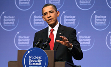 U.S. President Barack Obama speaks at a news conference to close the Nuclear Security Summit in Washington, DC, April 13, 2010.