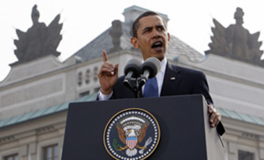 "In this Apr. 5, 2009 photo, U.S. President Barack Obama speaks at Hradcany square in Prague. ""I state clearly and with conviction America's commitment to seek the peace and security of a world without nuclear weapons."""