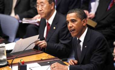 U.S. President Barack Obama chairs a U.N. Security Council meeting in New York on Sept. 24, 2009. The council unanimously adopted a U.S.-sponsored resolution seeking to prevent the spread of nuclear weapons and promote nuclear disarmament.