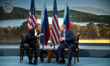 President Barack Obama of the United States meets with Russian President Vladmir Putin at the G8 Summit in Lough Erne, Northern Ireland on 17 June 2013.