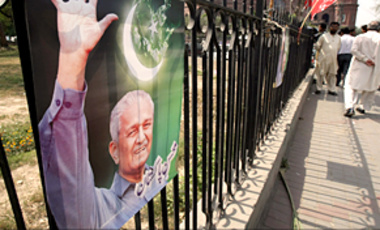 Mar. 29, 2010: a poster in Lahore, Pakistan, shows Pakistani nuclear scientist A.Q. Khan. As U.S. President Barack Obama hosted a nuclear security summit in April 2010, many states remained weak links in the global defense against nuclear terrorism.