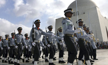 A contingent of Pakistan's Air Force during a ceremony to mark Pakistan Defense Day at the mausoleum of the founder of Pakistan Mohammad Ali Jinnah, Sep. 6, 2009, in Karachi. Pakistan celebrates Defense Day to mark the 1965 war with India over Kashmir.