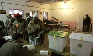 Voters in Peshawar, Pakistan cast their ballots in the February 2008 parliamentary elections.