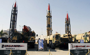 Pakistan-made missiles capable of carrying nuclear warheads to different ranges are on display at the Defense Exhibition in Karachi, Pakistan, on Tuesday, Nov. 25, 2008. Some 58 countries participated in the five-day IDEAS-2008 Defense Exhibition display