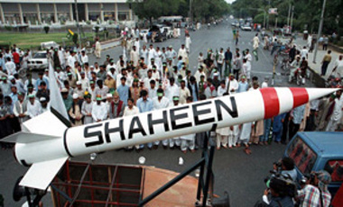 A model of Pakistani made surface-to-surface missile Shaheen, capable of carrying nuclear warhead, is on display in Lahore, Saturday, May. 22, 1999.
