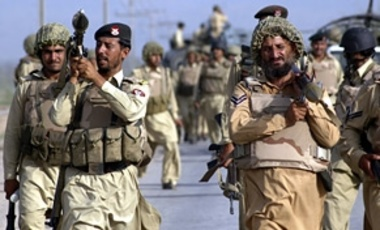 Members of Pakistan's para-military forces participated in a crackdown on suspected militants in the tribal area of Khyber on June 28, 2008.