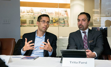To Engage Iran or Not: Trita Parsi (right), president of the National Iranian American Council, and Michael Singh, Lane-Swig Senior Fellow and managing director at The Washington Institute, discuss the upcoming path of the U.S.-Iran relationship.