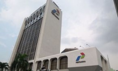 Headquarters of Pertamina, Indonesia's state-owned oil company, August 4, 2010. Pertamina now covers the difference between the subsidized price set by the government and market price of fuel.