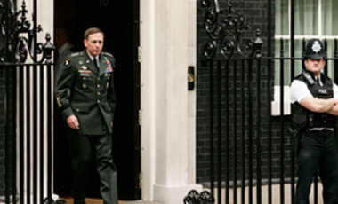 U.S. General David Petraeus, Commander designate, U.S. Central Command, leaves 10 Downing Street in London after a meeting with the British Prime Minister Gordon Brown, Sept. 29, 2008.