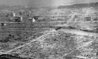 The aftermath of the atomic bomb detonation at Hiroshima