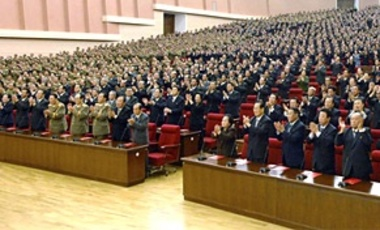 In a Sep. 28, 2010 photo released by Korean Central News Agency via Korea News Service, delegates clap in unison during the ruling Workers' Party representatives meeting in Pyongyang, North Korea.