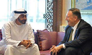 U.S. Secretary of State Mike Pompeo, right, meets with Abu Dhabi Crown Prince Mohamed bin Zayed al-Nahyan