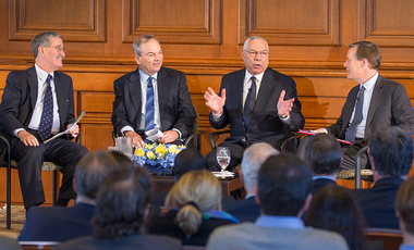 Global Dialogue: Former U.S. Secretary of State Colin Powell discusses diplomacy with Harvard Kennedy School's Nicholas Burns (right), Harvard Law School's Robert Mnookin, (left), and Harvard Business School's James Sebenius.
