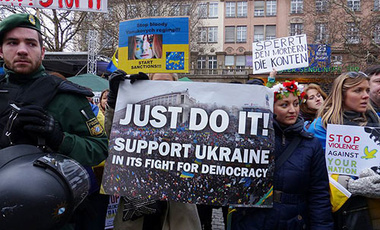 Ukrainians demonstrating for democracy for their country.