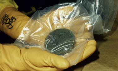 "A plutonium ""button"" in a technician's hands"