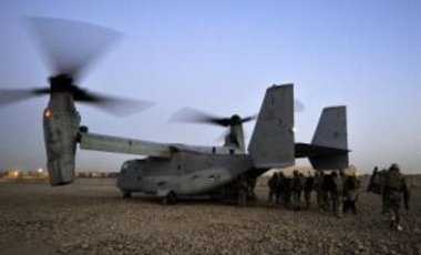 Members of II Squadron RAF Regiment & the U.S. Marine Corps board U.S. Osprey Aircraft at Camp Bastion, Afghanistan, Feb. 6, 2012. The Coalition troops deployed on Operation Backfoot, a combined operation to disrupt insurgent activity in Helmand province.