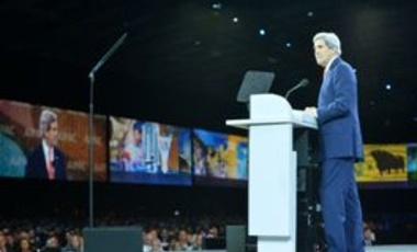 U.S. Secretary of State John Kerry gives an address at the annual AIPAC Conference on March 3, 2014.