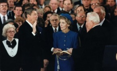 President Ronald Reagan being sworn in for his 2nd term in the rotunda at the U.S. Capitol, 21 Jan. 1985. In Feb. 1983, the KGB instructed its main residencies (stations) in America to begin planning active measures to ensure Reagan's defeat in Nov. 1984.