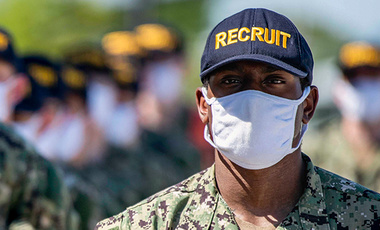Navy recruits march in formation at Recruit Training Command in Great Lakes, Illinois, June 2, 2020.