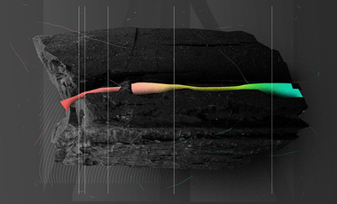 Black rock, rainbow banded: Abstract concept of Tough Tech