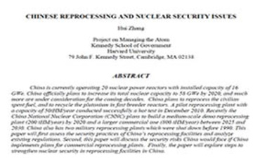 Chinese Reprocessing and Nuclear Security Issues