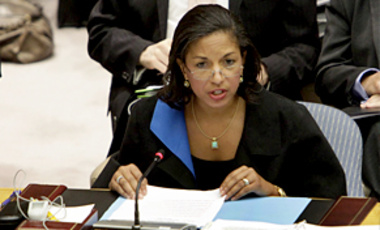 U.S. Ambassador Susan Rice speaks at the UN Security Council, June 9, 2010. The UNSC approved new sanctions against Iran that target the Revolutionary Guard, ballistic missiles, and nuclear-related investments.