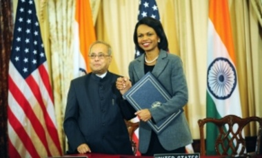 U.S. Secretary of State Condoleezza Rice and Indian Foreign Minister Pranab Mukherjee sign the U.S.-India Civilian Nuclear Cooperation Agreement, 10 October 2008.